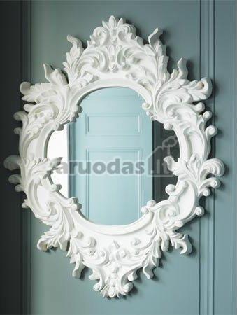 Tradicinis veidrodis, įrėmintas baltame rėmelyje