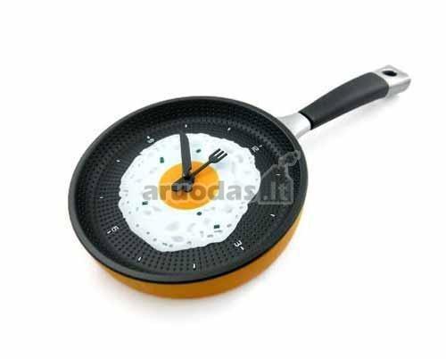 Keptuvės formos virtuvinis laikrodis