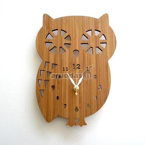 Medinis laikrodis - pelėda
