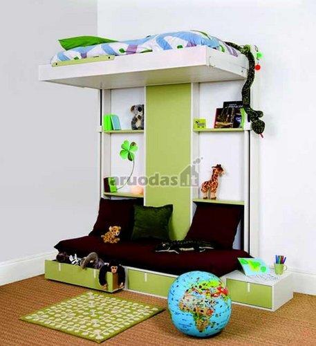 žaismingas ir kompaktiškas vaikų kambarys
