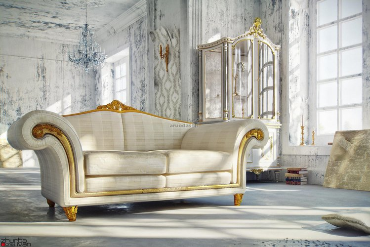 Vintažinio stiliaus akcentas - sofa