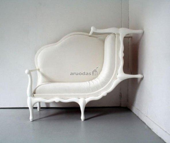 Baltas, originalios formos krėslas