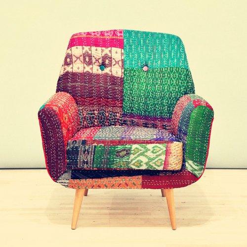 Ryškiaspalvis fotelis