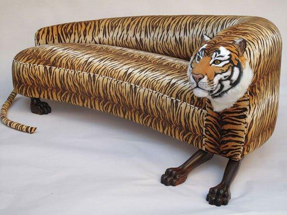 Originalus ir unikalus sofos dizainas: tigras