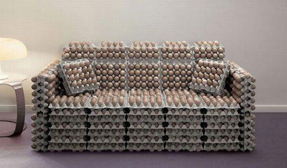 Originalus ir unikalus sofos dizainas: kiaušinių dėklai