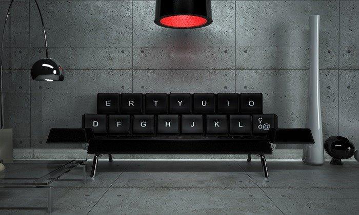 Originalus ir unikalus sofos dizainas: klaviatūra