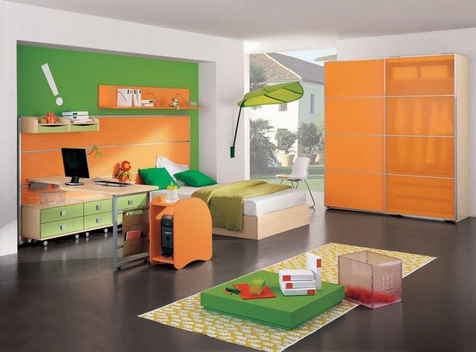 žalia - orandžinė vaiko kambarys