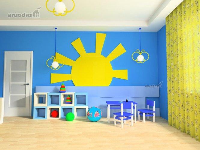 Ryški saulė vaiko kambario interjere