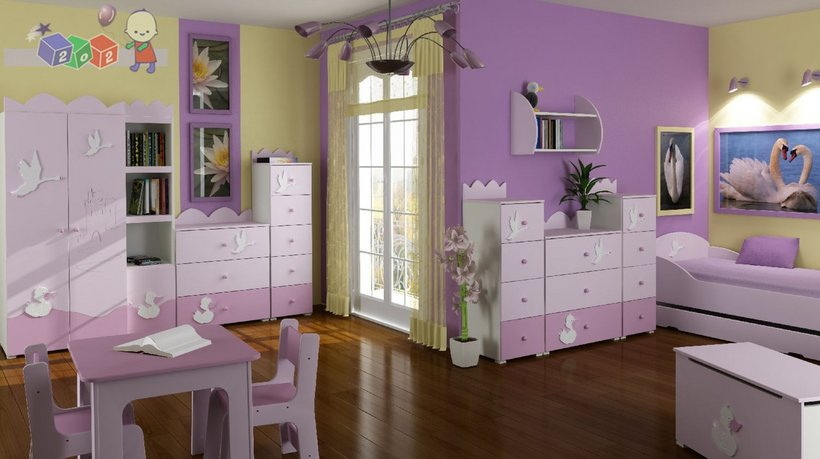 Violetinis vaiko kambario interjeras