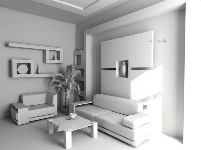 Baltas darbo kambario dizainas