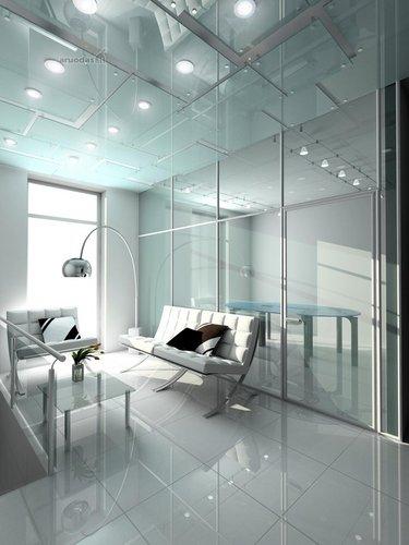 Stiklas ir modernios metalo konstrukcijos interjere