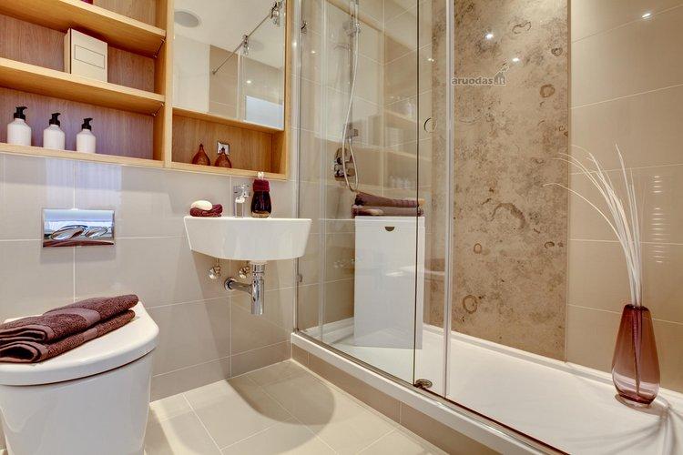 Tradicinis vonios kambarys su dušo kabina