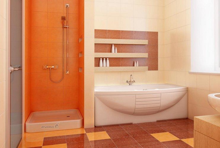 Oranžinė dušo kabina