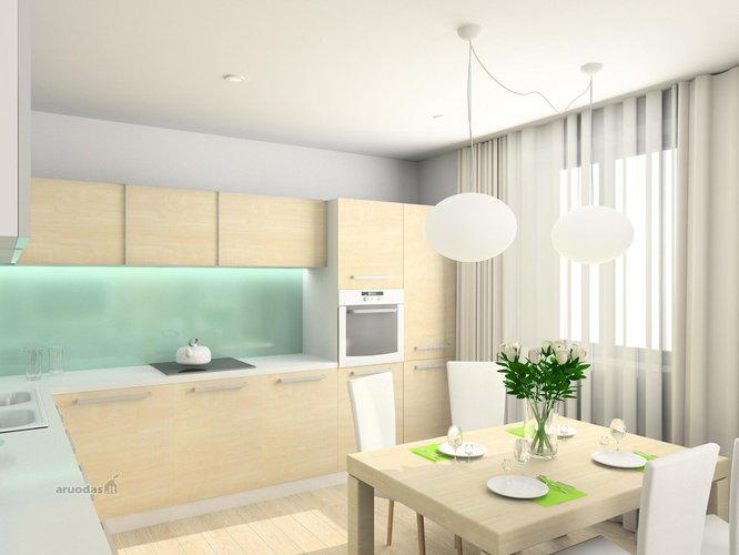 šviesių spalvų virtuvės dizainas