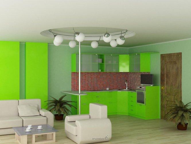Ryškiai žalia virtuvė