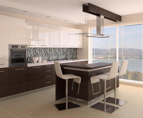 Nespalvotos virtuvės dizainas
