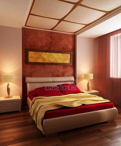 Ryškaus bet jaukaus miegamojo dizainas