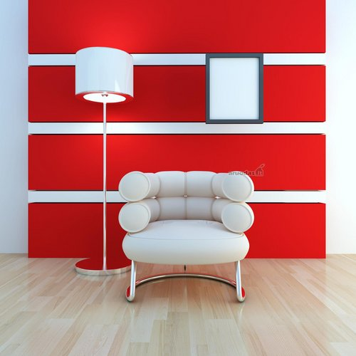 Raudona - balta interjeras