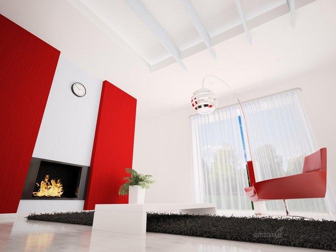 Balta - raudona - juoda interjeras