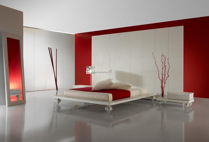 Modernus, minimalistinis miegamojo interjeras