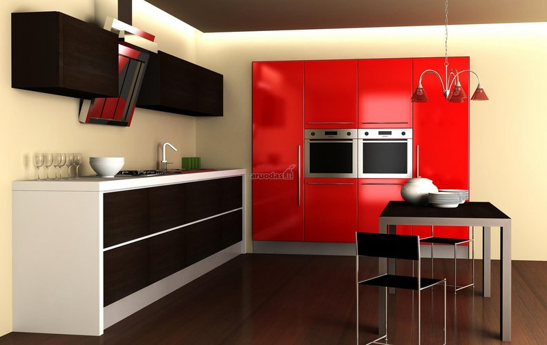 Modernaus stiliaus, ryški virtuvė