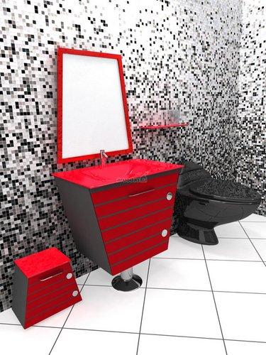 Modernus, ryškus, nedradicinis vonios kambario interjeras