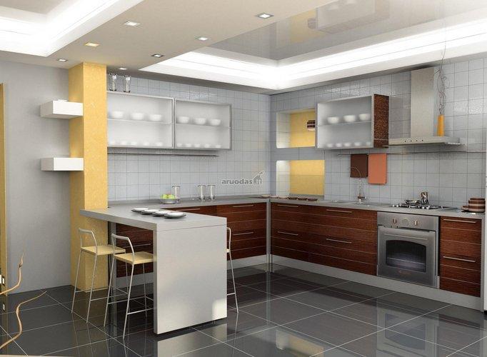 Nedidelės virtuvės kartu su valgomuoju dizainas