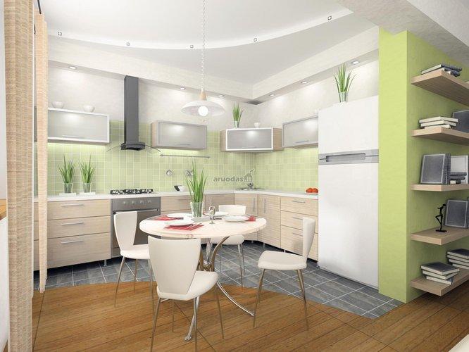 šviesios virtuvės interjeras