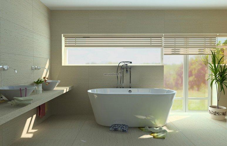 Minimalistinės, modernios vonios dizainas