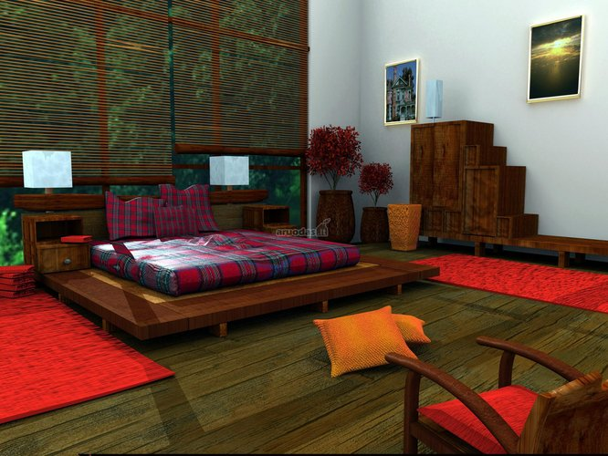 žaismingas spalvų derinys miegamojo dizaine