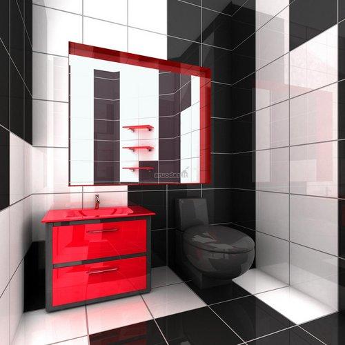 Juoda - balta - raudona ryškus tualetas