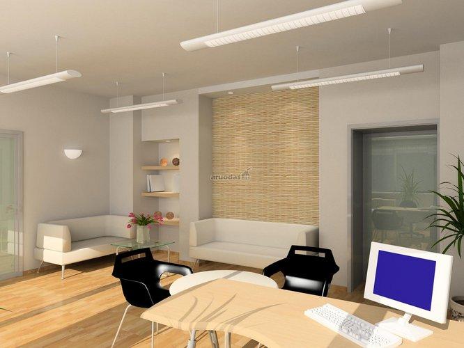 Nedidelio, šviesaus biuro interjeras
