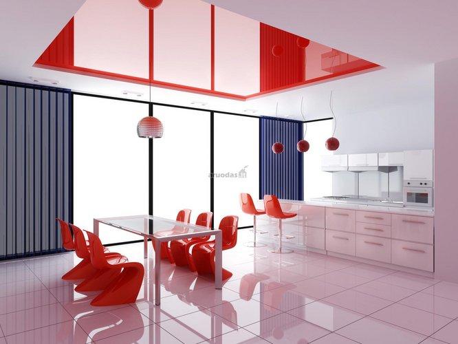 Rožinė - raudona virtuvės interjeras