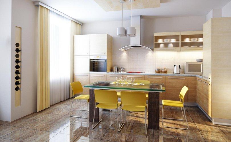 Stiklinis virtuvinis stalas virtuvės interjere
