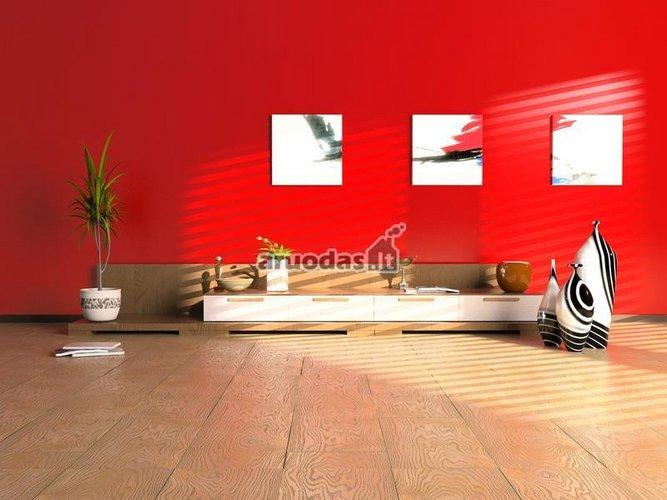 Raudona siena moderniame kambaryje