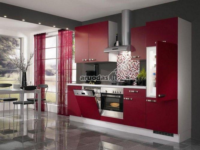 Vyšninė spalva, derinama su nespalvotos virtuvės interjeru