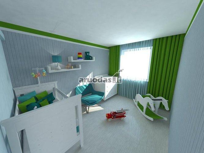 žalias akcentas vaiko kambario dizaine