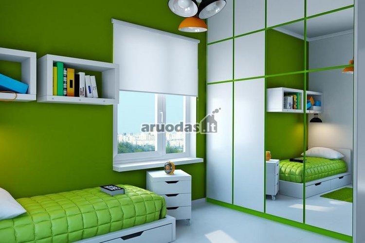 žalias vaiko kambaro interjeras