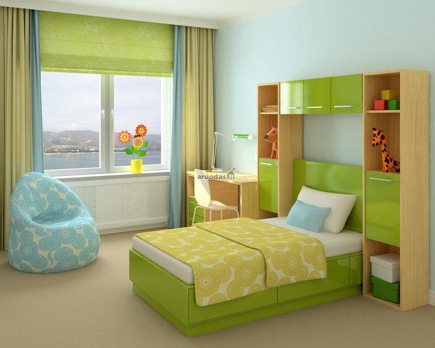 žalia jaunuolio kambario dizaine