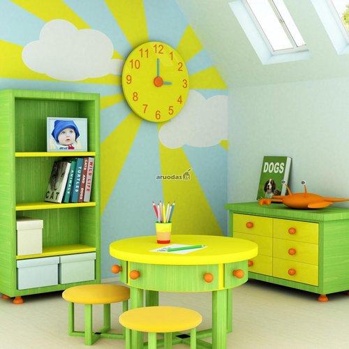 žalia - geltona mažylio kambario dizainas