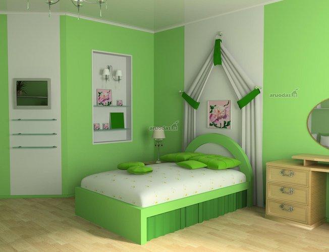 žalia - balta vaiko kambario dizainas