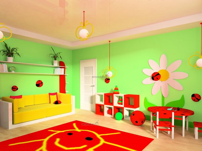 Ryškus, žalia - raudona - geltona vaikų kambarys