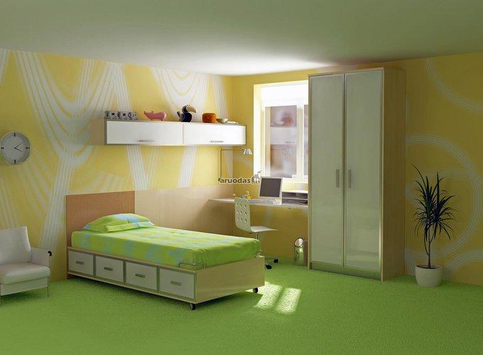 žalios vaiko kambario grindys