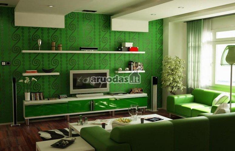žalias svetainės interjeras