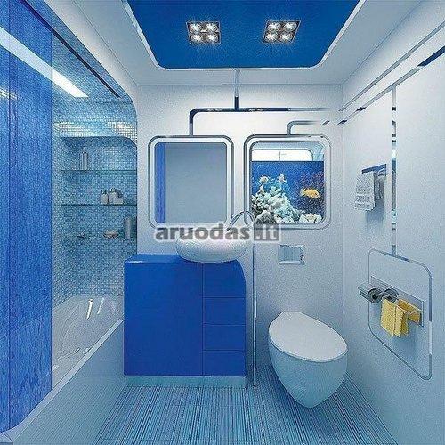 Mėlyna - balta vonios kambarys