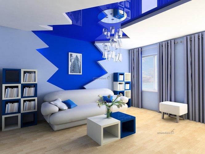 Balta - mėlyna svetainės interjeras