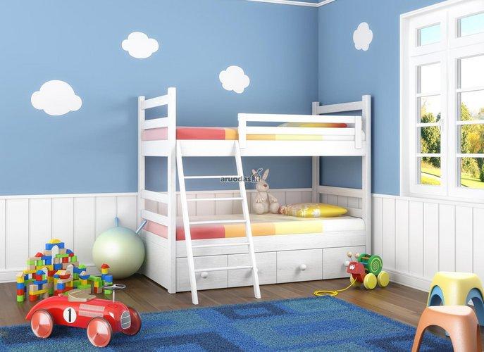 Mėlyno dangaus dekoras vaikų kambaryje