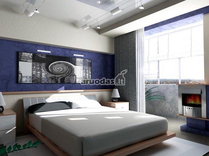 Keletas mėlynų akcentų miegamajame