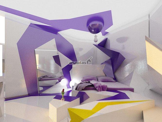Balta - violetinė - geltona interjeras