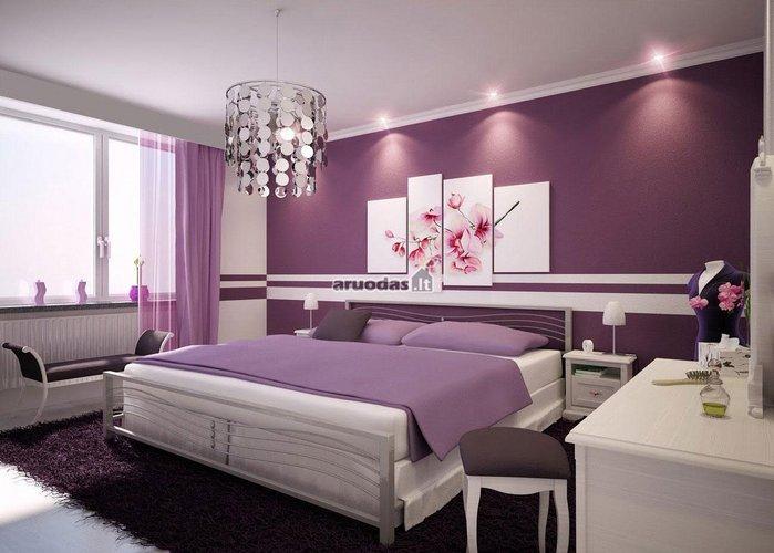 Violetinio miegamojo dizainas